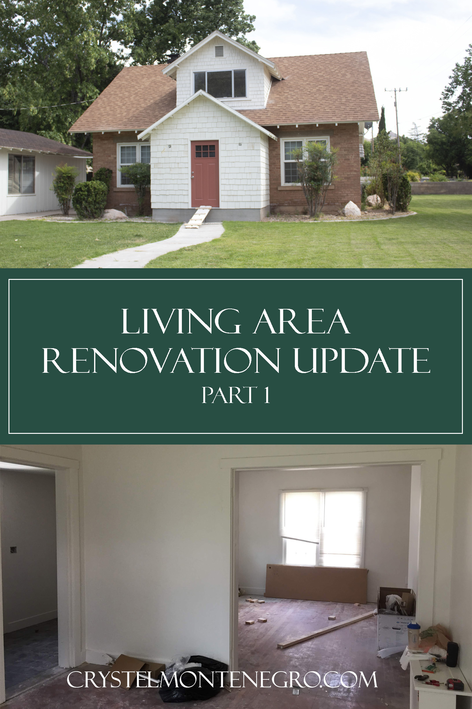 Pinterest pin image: Home exterior and interior before remodel