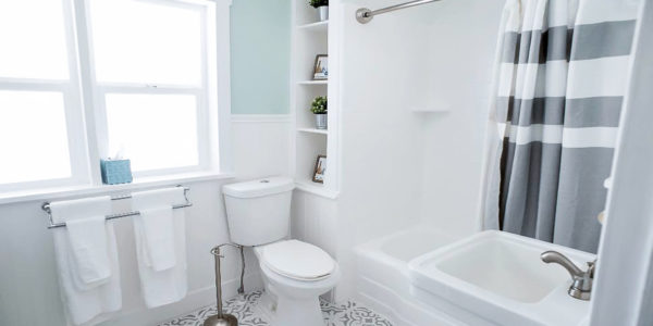 White bathroom with green walls